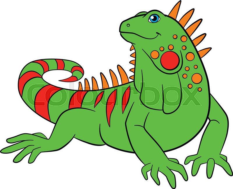 Cute iguana clipart clip art transparent library Cartoon animals. Cute green iguana ... | Stock vector ... clip art transparent library