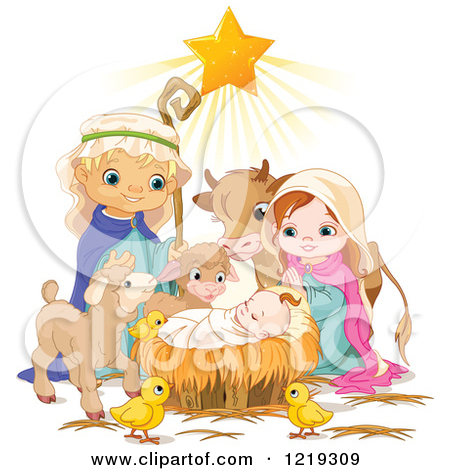 Cute jesus clipart clipart clip art free stock Clipart of a Nativity Scene of Baby Jesus, Joseph, Mary and Cute ... clip art free stock