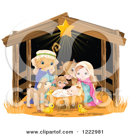 Cute jesus clipart clipart freeuse stock Clipart of a Nativity Scene of Baby Jesus, Joseph, Mary and Cute ... freeuse stock
