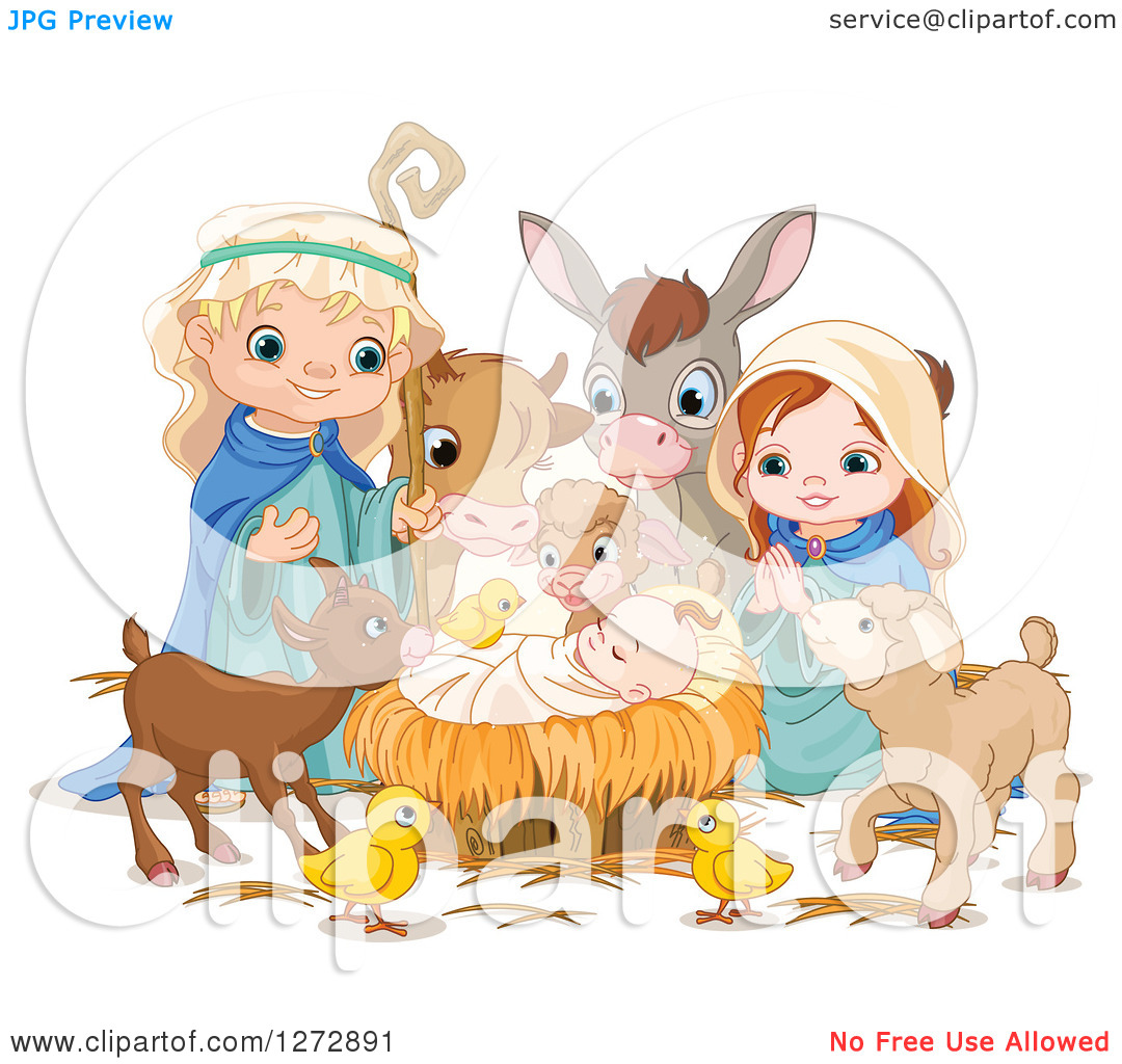 Cute jesus clipart clipart black and white stock Clipart of a Nativity Scene of Baby Jesus, Joseph, Mary and Cute ... black and white stock