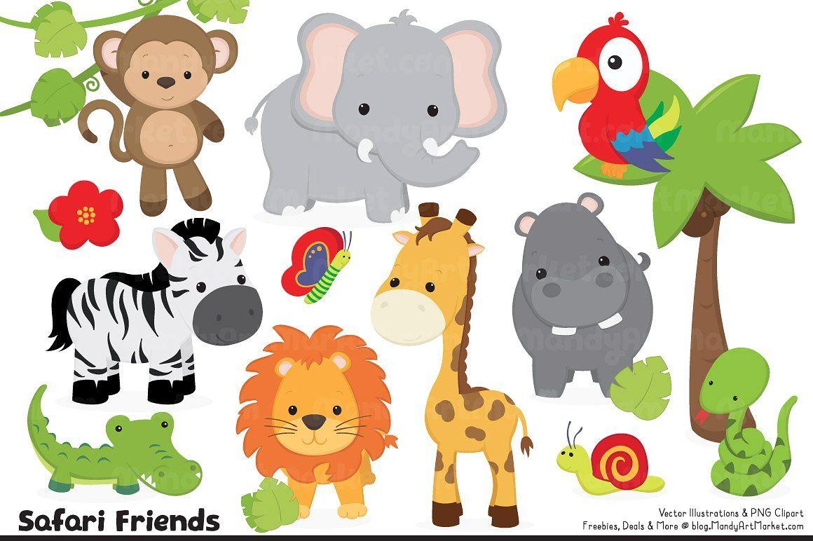 Cute jungle animal clipart free graphic royalty free download ad: Cute Jungle Animal Clipart by Amanda Ilkov on ... graphic royalty free download