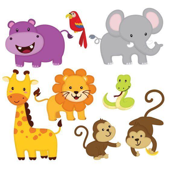 Cute jungle animal clipart free vector royalty free library Jungle animal clip art, Jungle Friends sticker, Jungle ... vector royalty free library