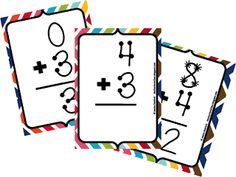 Cute kid doing math flash cards clipart