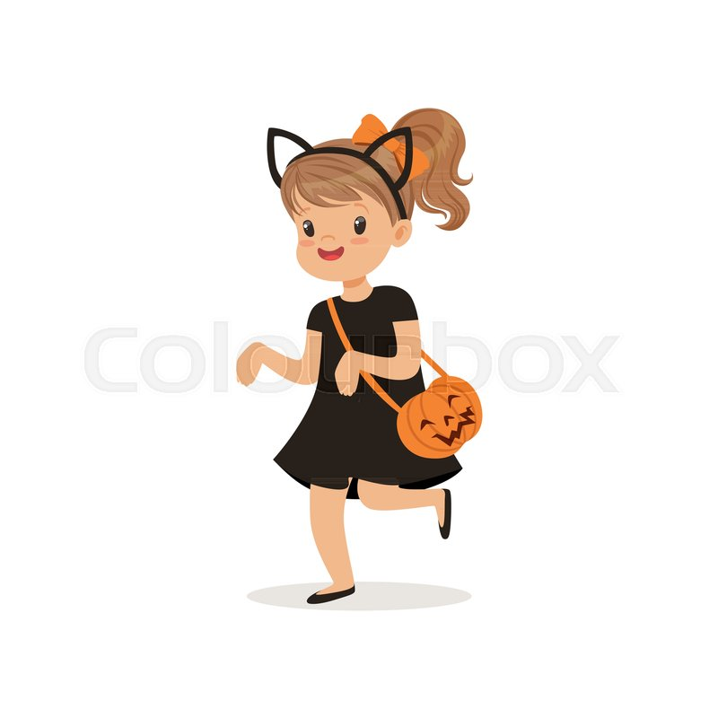Cute kid dressed like a cat clipart svg free library Little girl dressed as a black cat, ...   Stock vector ... svg free library