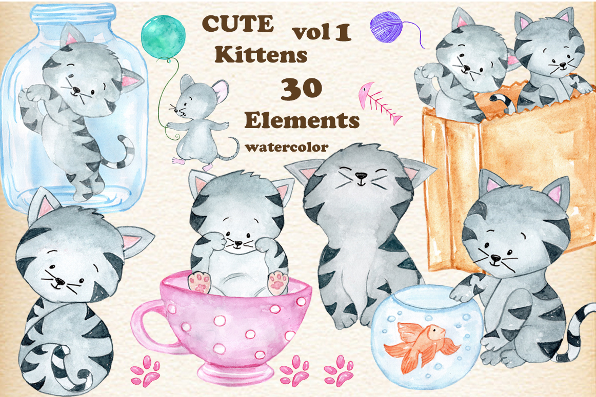 Cute kid dressed like a cat clipart png free stock Watercolor Cats clipart Kids clipart Cute Cat png free stock