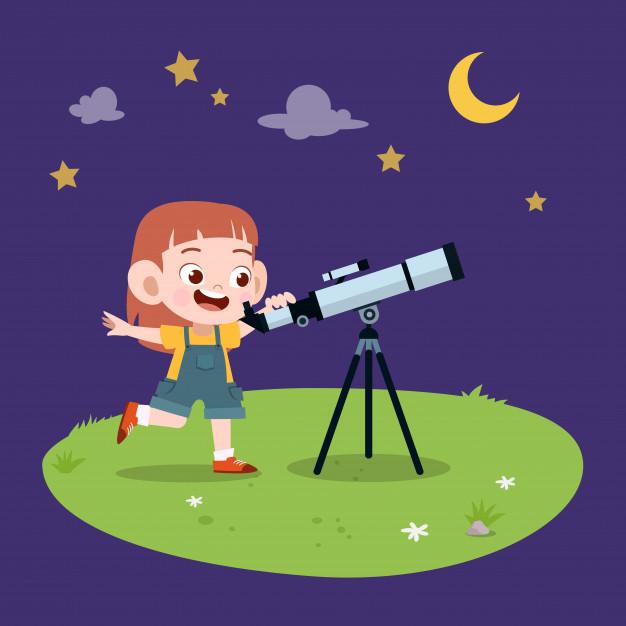Cute kids doing things clipart science telescope free image freeuse Kid girl telescope Vector   Premium Download image freeuse