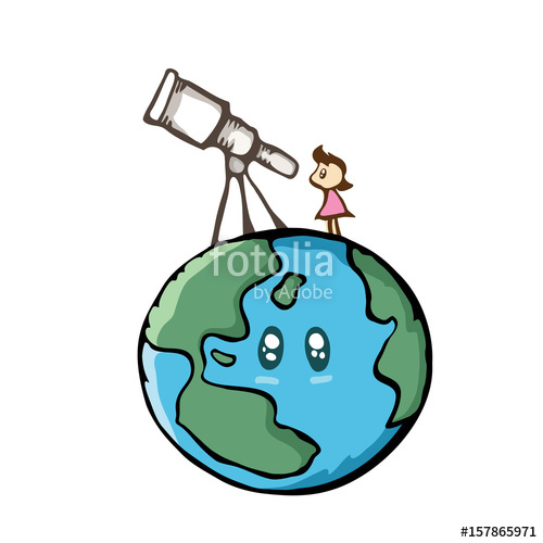 Cute kids doing things clipart science telescope free jpg freeuse Girl looking the sky with telescope on the earth. Cute cartoon ... jpg freeuse