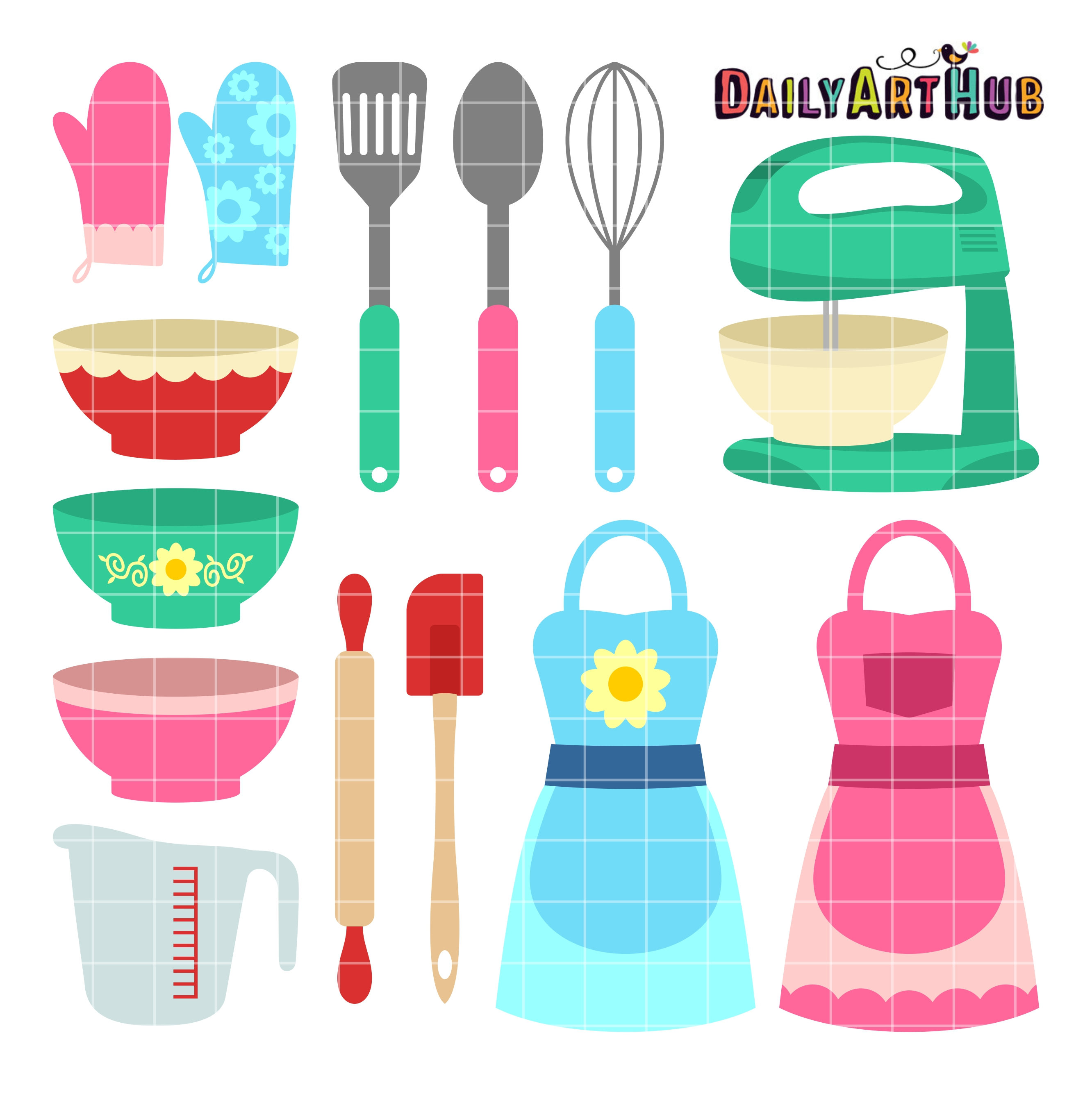 Cute kitchen clipart graphic transparent stock Cute Kitchen Wares Clip Art Set graphic transparent stock