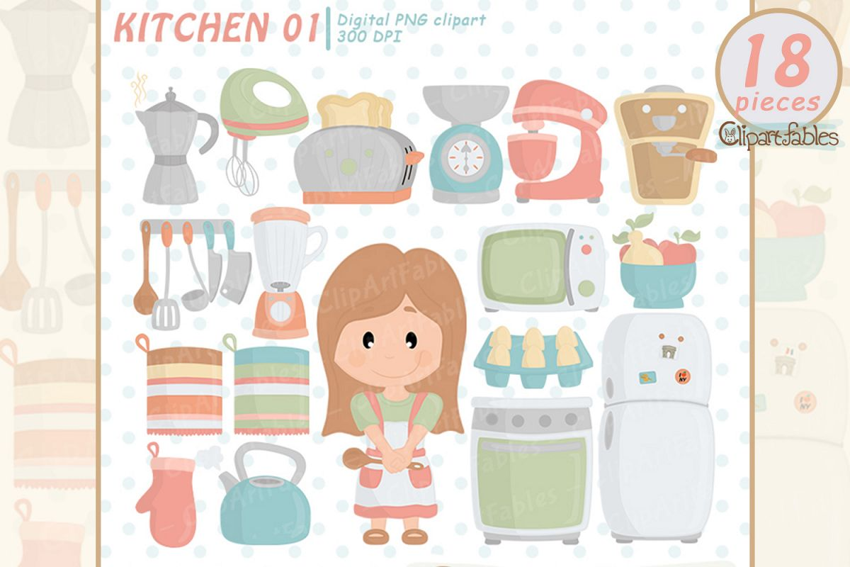Cute kitchen clipart picture library library Kitchen clipart, cute girl chef clip art, in the kitchen art picture library library