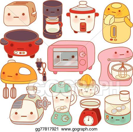 Small appliances clipart vector black and white library Vector Clipart - Set of adorable kitchen appliances, cute ... vector black and white library