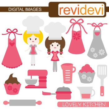 Cute kitchen clipart clip art free stock Clip Art Pink Grey kitchen (girl chef, baking, cooking) cute clipart clip art free stock