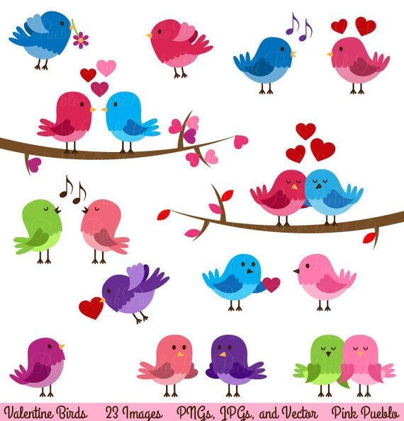 Cute love birds clipart graphic freeuse stock Valentine Birds Clipart Clip Art, Love Birds Lovebirds ... graphic freeuse stock