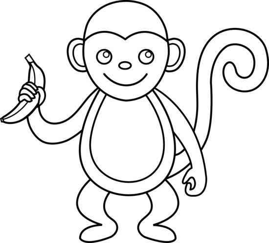 Cute monkey clipart black and white clip freeuse library Monkey Outline | Black and White Monkey | Something to draw ... clip freeuse library
