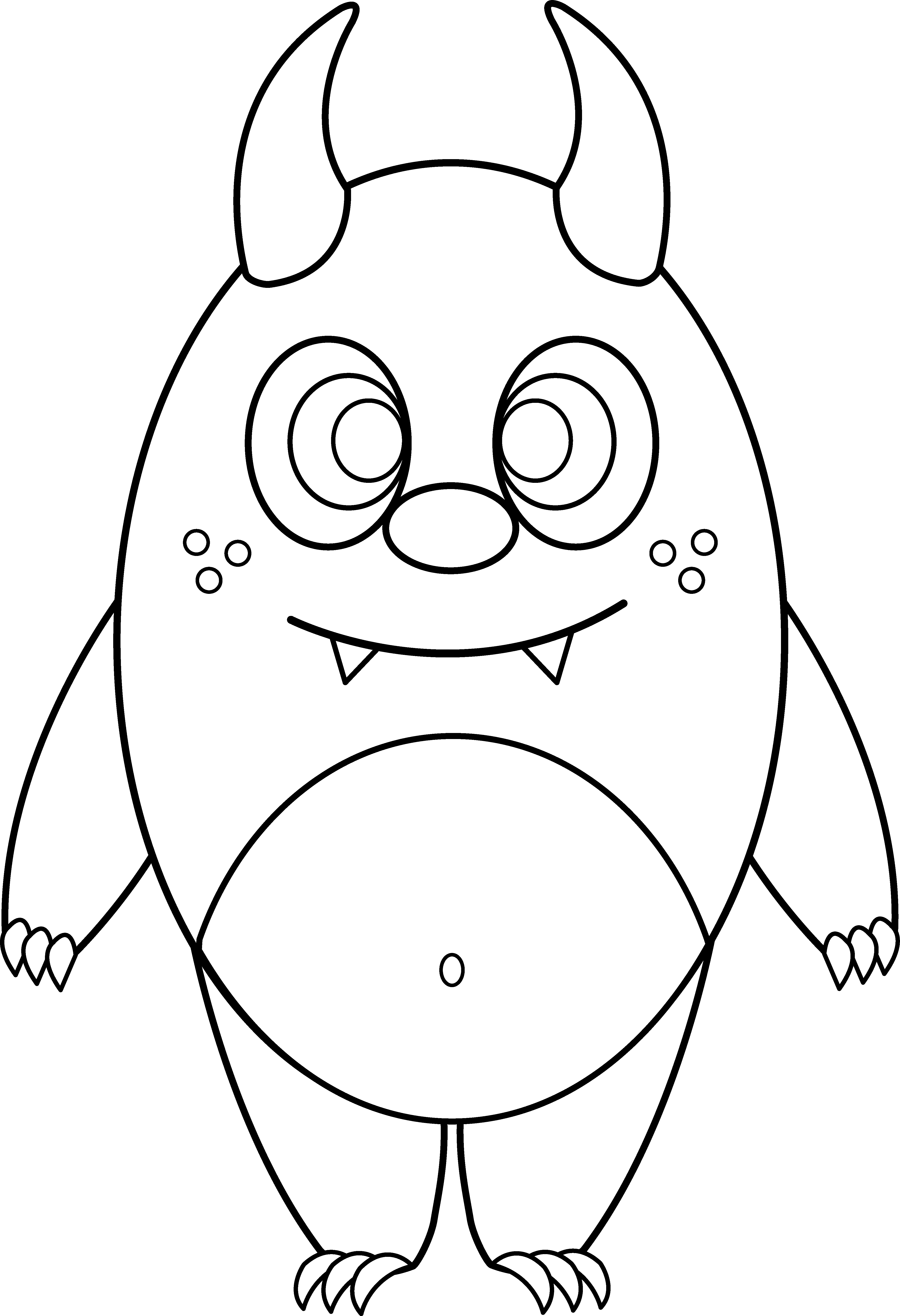 Cute monster halloween black and white clipart clipart free download Monster Line Drawing at GetDrawings.com | Free for personal use ... clipart free download