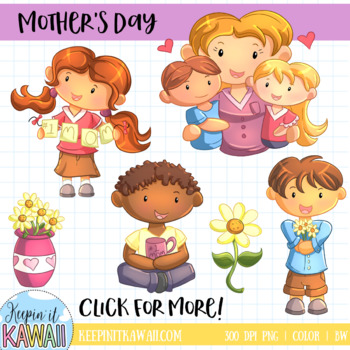 Cute mothers day clipart svg black and white download Cute Mother\'s Day Clip Art Set svg black and white download