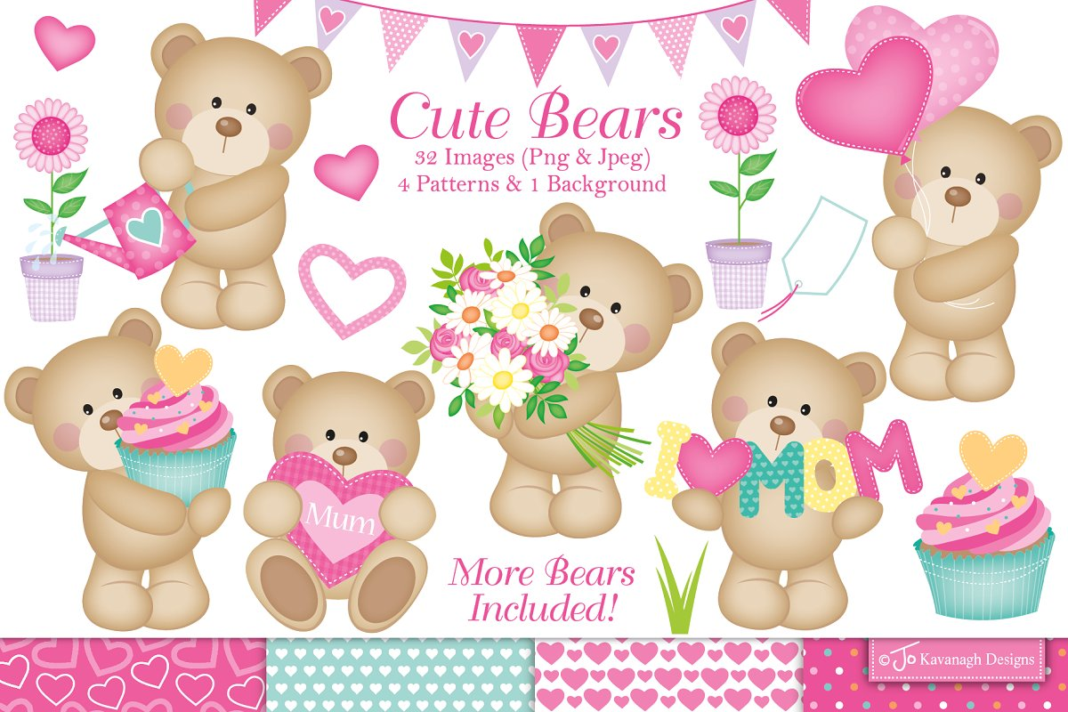 Cute mothers day clipart clipart library Mothers Day Clipart, Cute Bears -C19 clipart library