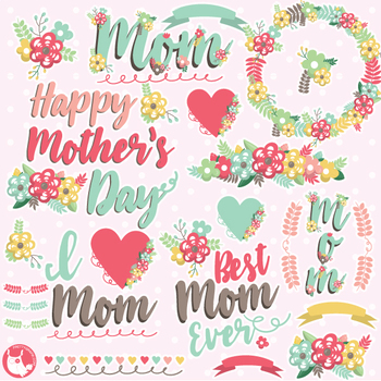 Cute mothers day clipart vector download Mother\'s day clipart commercial use, vector graphics - CL1079 vector download