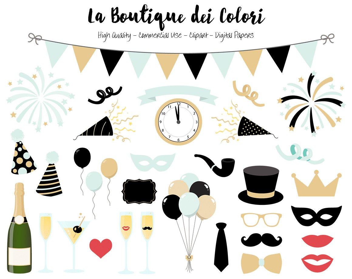 Cute new years clipart svg black and white download Mint and Gold New Year\'s Clipart svg black and white download