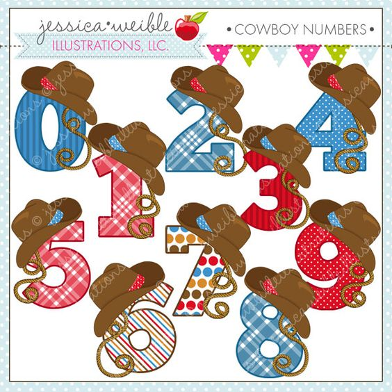 Cute numbers clipart 1 10 png free stock Cowboy Numbers - cute clipart for boys - great for birthday ... png free stock