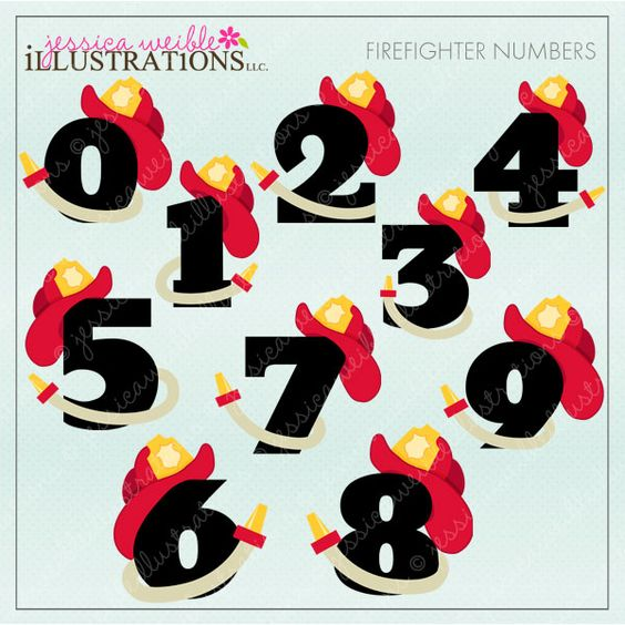 Cute numbers clipart 1 10 picture stock Firefighter Numbers clipart set comes with 10 cute numbers, zero ... picture stock
