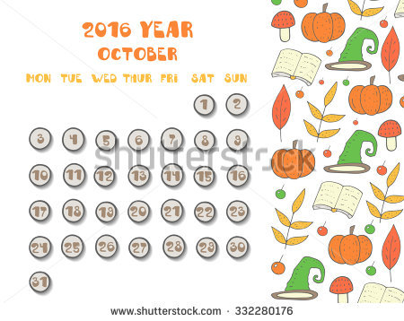 Cute october 2016 clipart graphic transparent Cute Hand Drawn Doodle October 2016 Year Calendar, Organizer, Page ... graphic transparent