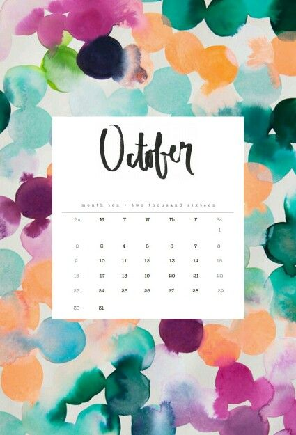 Cute october 2016 clipart banner black and white stock 17 Best images about calendar wallpaper 2016 on Pinterest   iPhone ... banner black and white stock