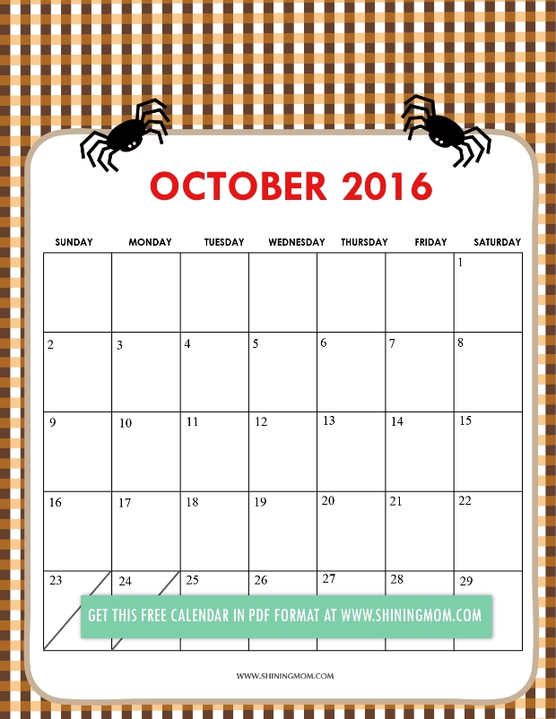 Calendar printable craze. Cute october 2016 clipart