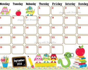 Cute october 2016 clipart. August calendar for kids