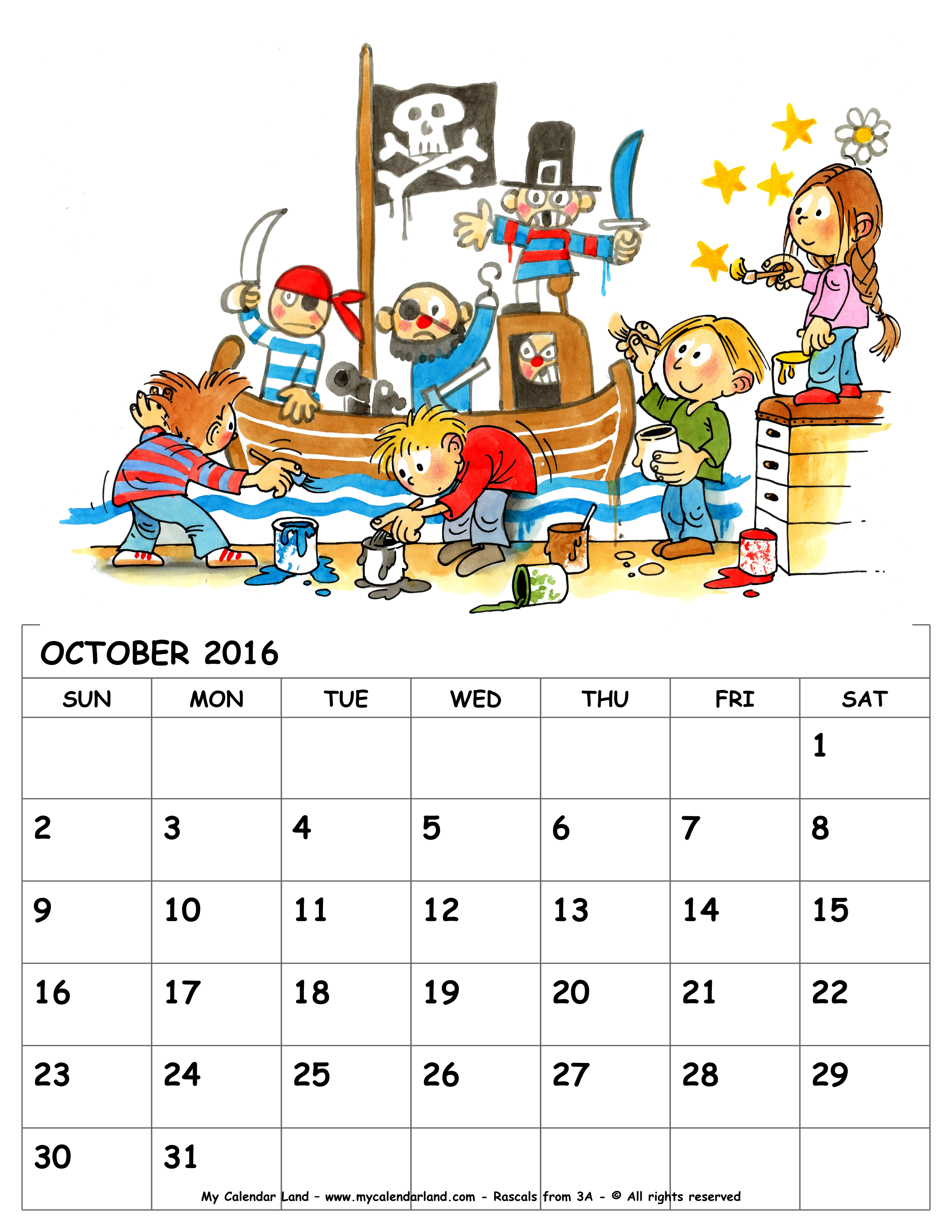 Cute october 2016 clipart png free October 2016 Calendar - My Calendar Land png free