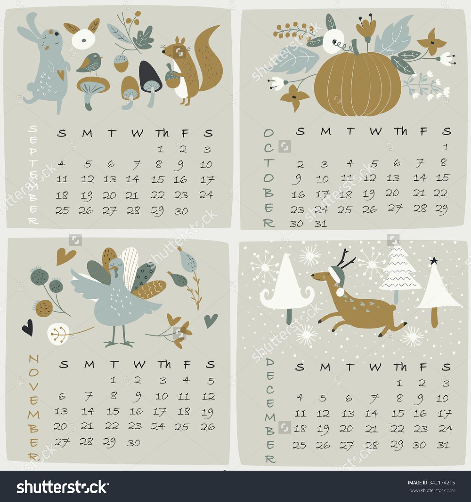 Cute october 2016 clipart vector royalty free download 2016 Calendar September October November December Stock Vector ... vector royalty free download
