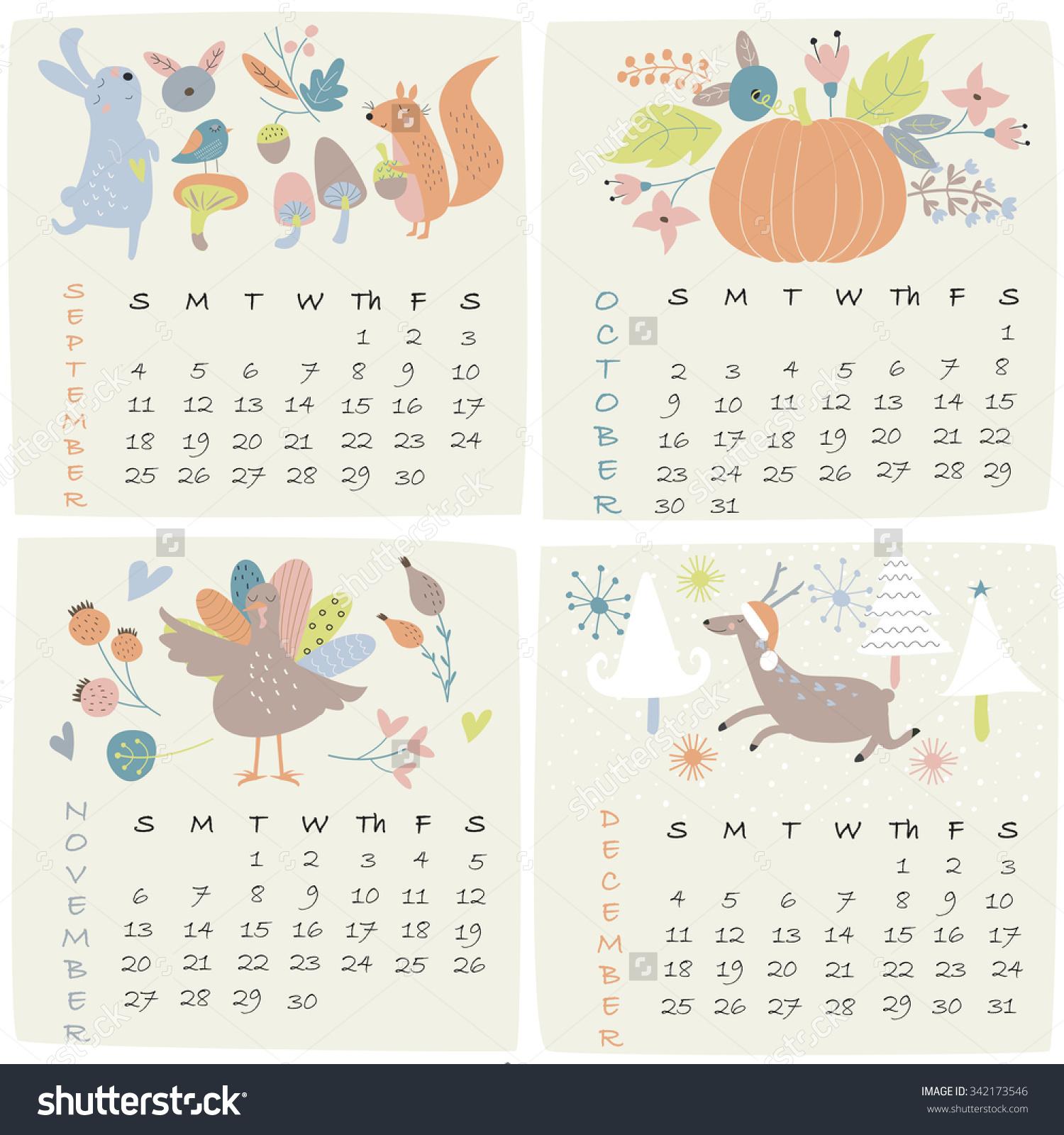 Cute october 2016 clipart vector royalty free 2016 Calendar September October November December Stock Vector ... vector royalty free