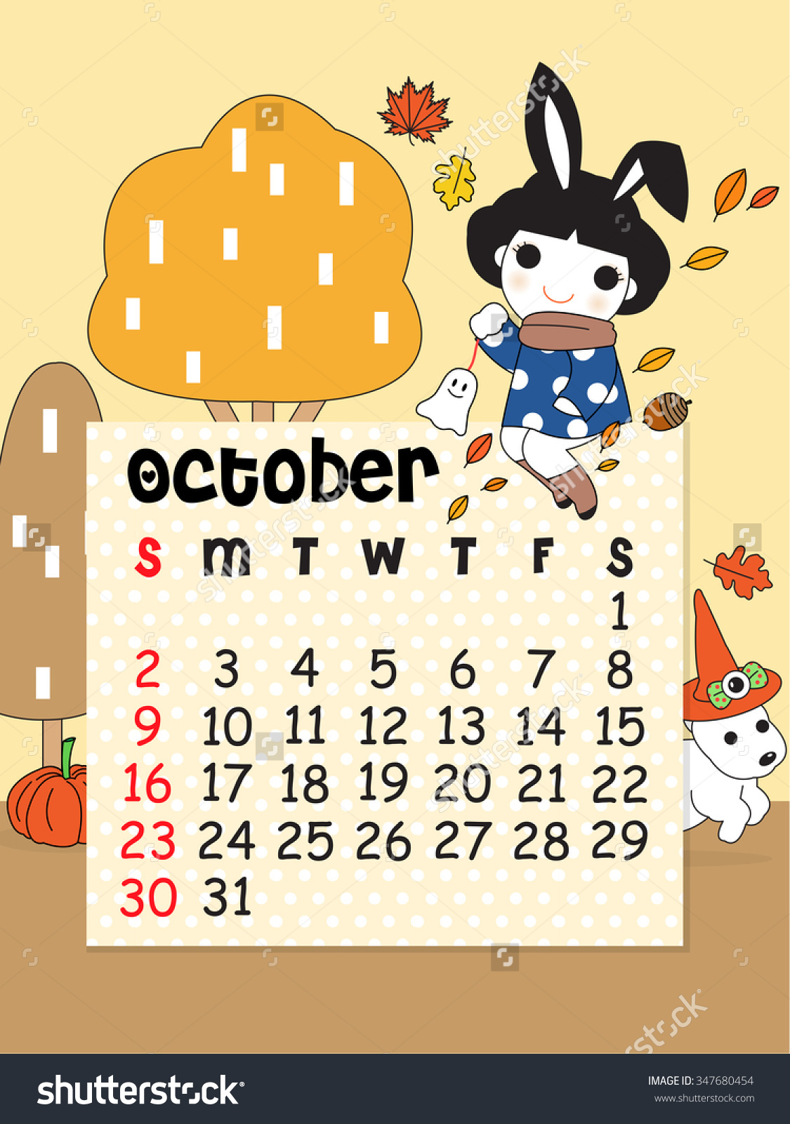 Cute october 2016 clipart. Calendar template character illustration