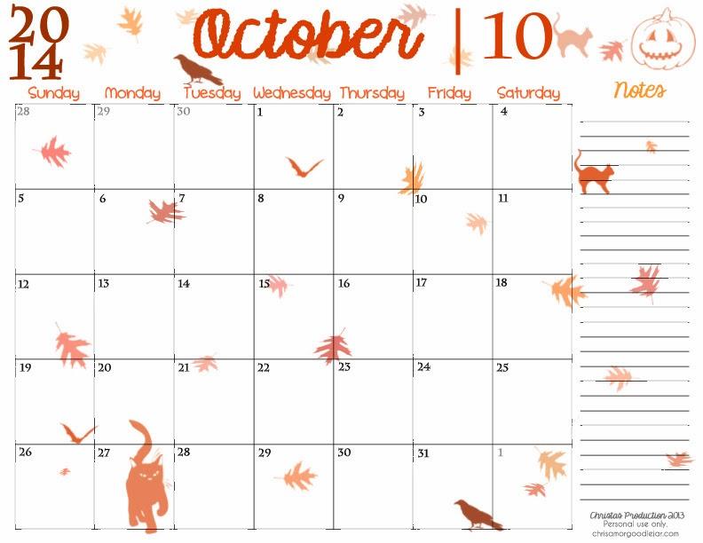 Clipartninja calendar chrisamor goodie. Cute october 2016 clipart