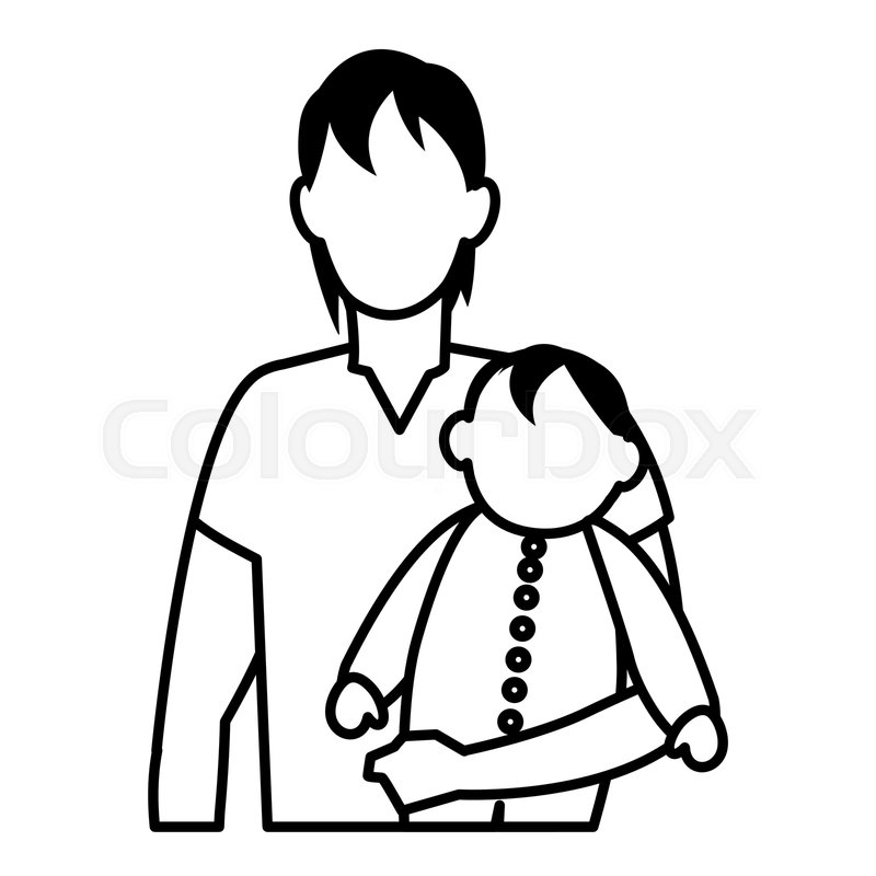 Cute old person black and white clipart clip art transparent Old man holding a cute baby over white ... | Stock vector ... clip art transparent