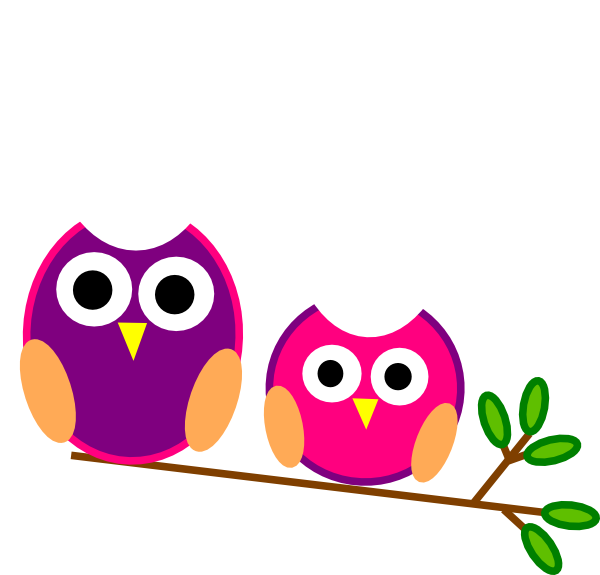 Cute owl halloween clipart svg transparent Cute Pink And Purple Owls Clip Art at Clker.com - vector clip art ... svg transparent