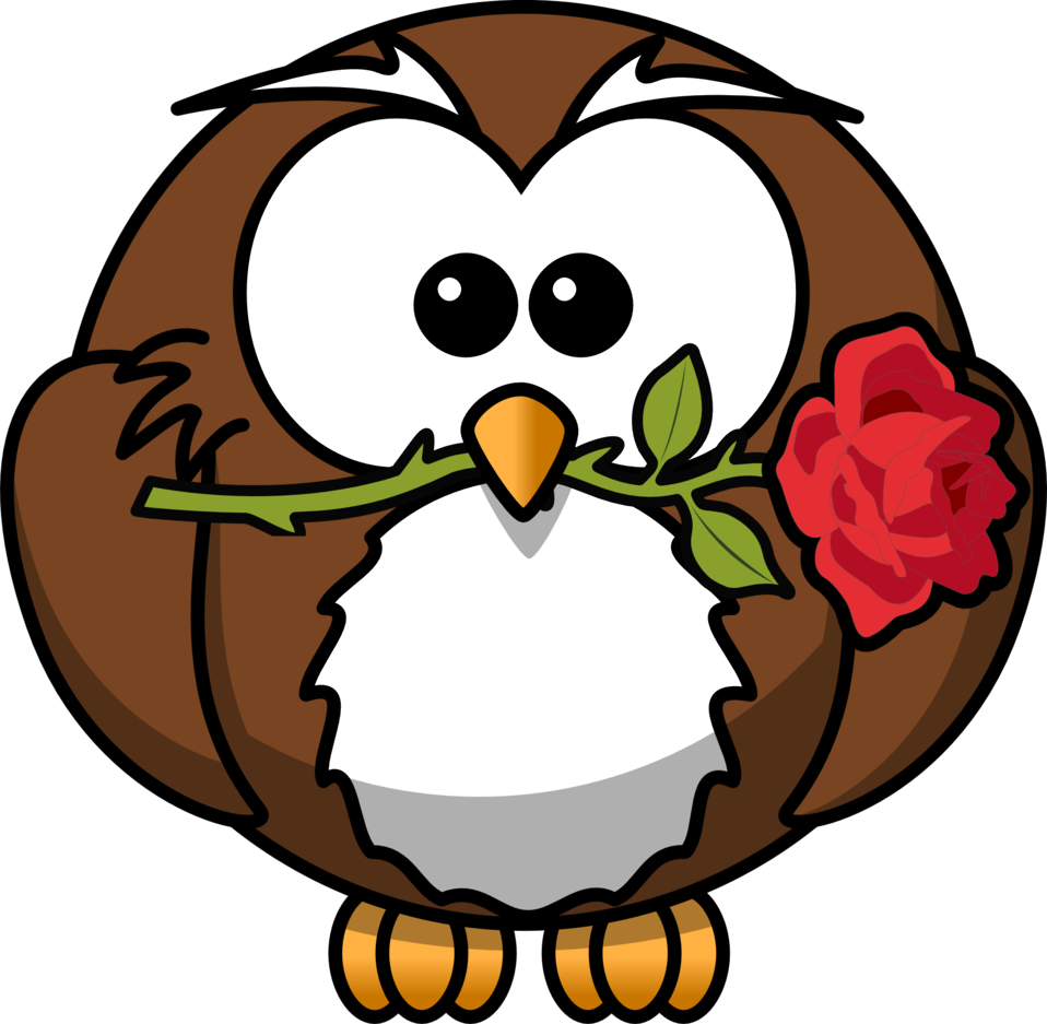 Cute owl holding a flower clipart banner royalty free library Public Domain Clip Art Image   Cartoon owl with a rose   ID ... banner royalty free library