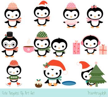 Cute penguins clipart vector royalty free Cute penguins clipart set, Christmas penguin clip art collection, Winter  penguin vector royalty free