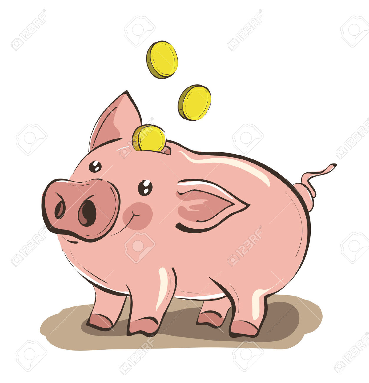 Cute piggy bank clipart vector transparent download Illustration Of Hand Drawn Piggy Bank With Three Golden Coins ... vector transparent download
