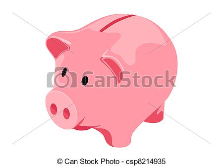 Stock illustration images vector. Cute piggy bank clipart