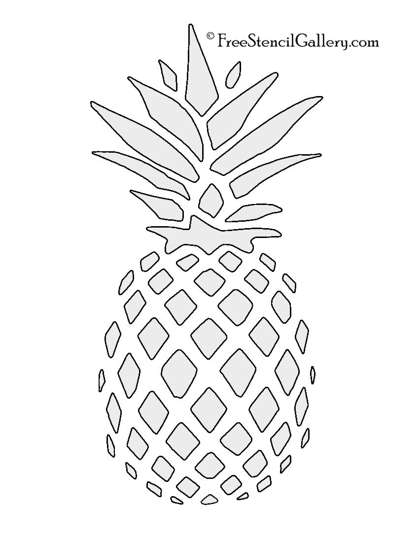 Cute pineapple camera clipart black and white vector freeuse Pineapple Stencil | Free Stencil Gallery | Stencils | String ... vector freeuse
