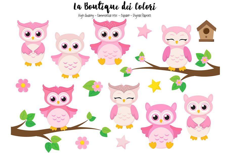 Cute pink clipart clipart library download Cute Pink Owls Clipart clipart library download