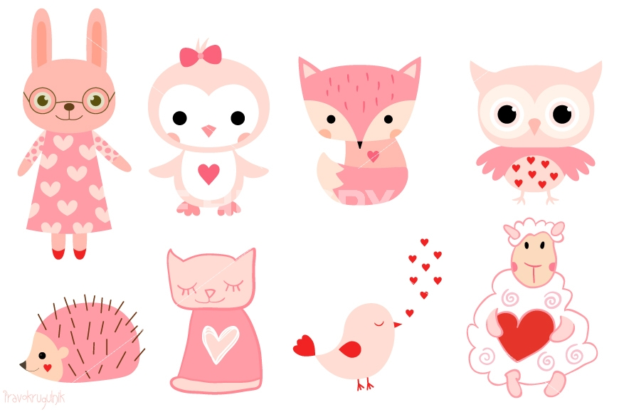 Cute pink clipart black and white library Pink Animal Cliparts - Cliparts Zone black and white library