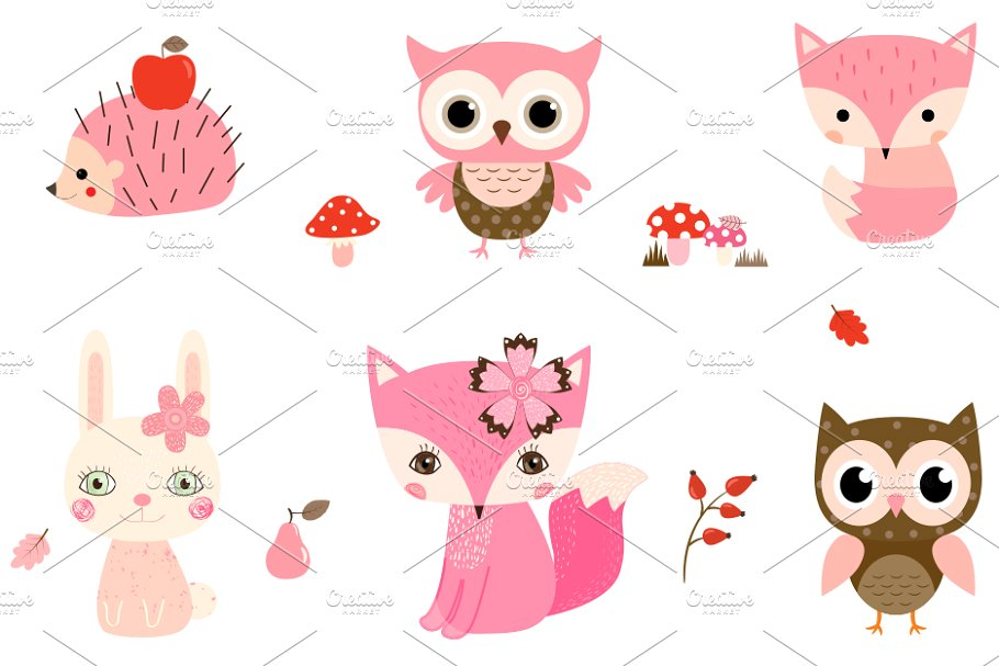Cute pink clipart graphic freeuse stock Cute Pink Woodland Animals Clipart graphic freeuse stock