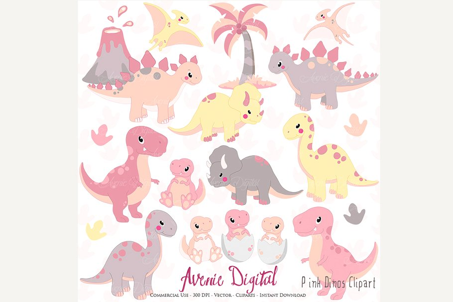 Cute pink clipart clip free download Cute Pink Dinosaur Clipart + Vectors clip free download