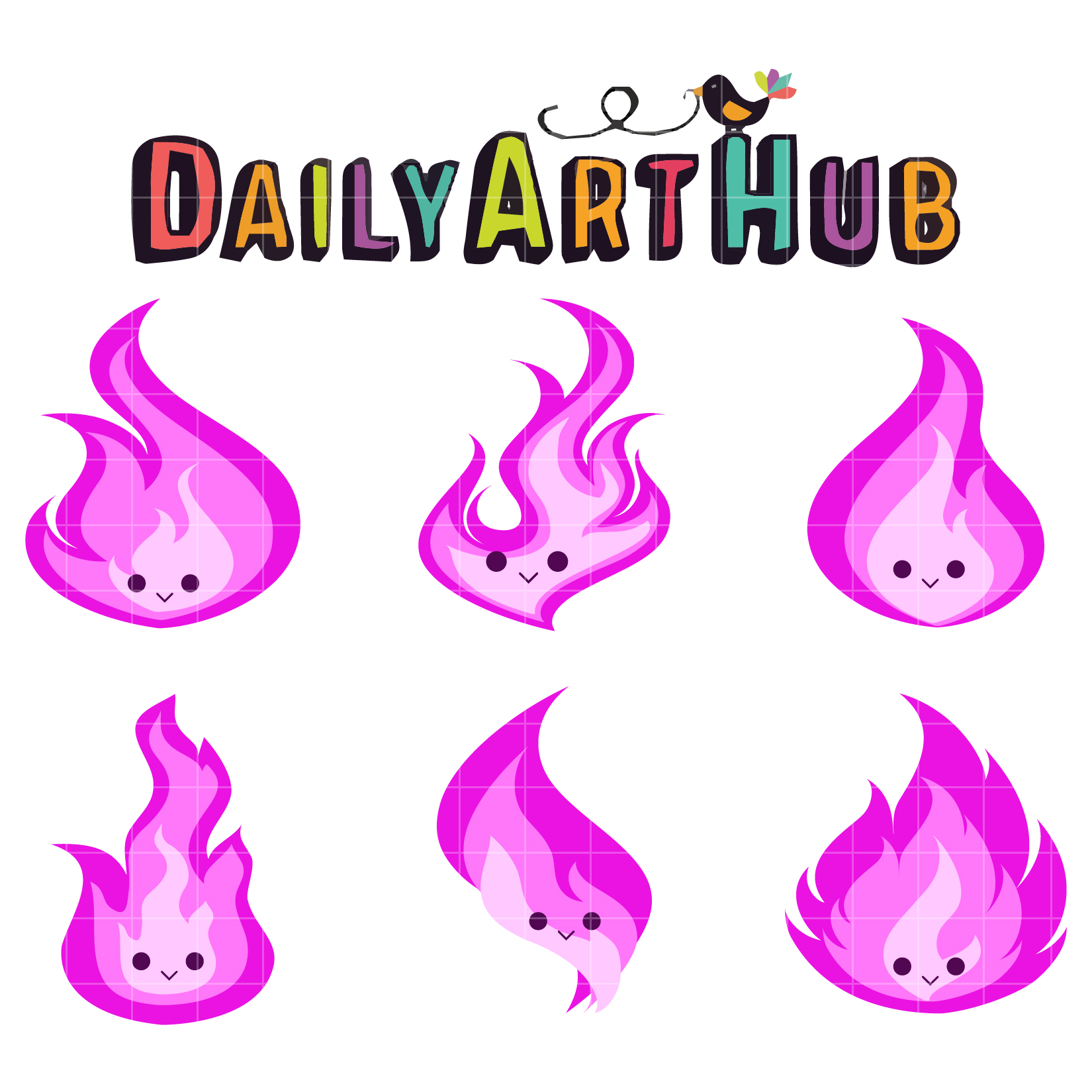 Cute pink clipart picture royalty free library Cute Pink Flames Clip Art Set picture royalty free library