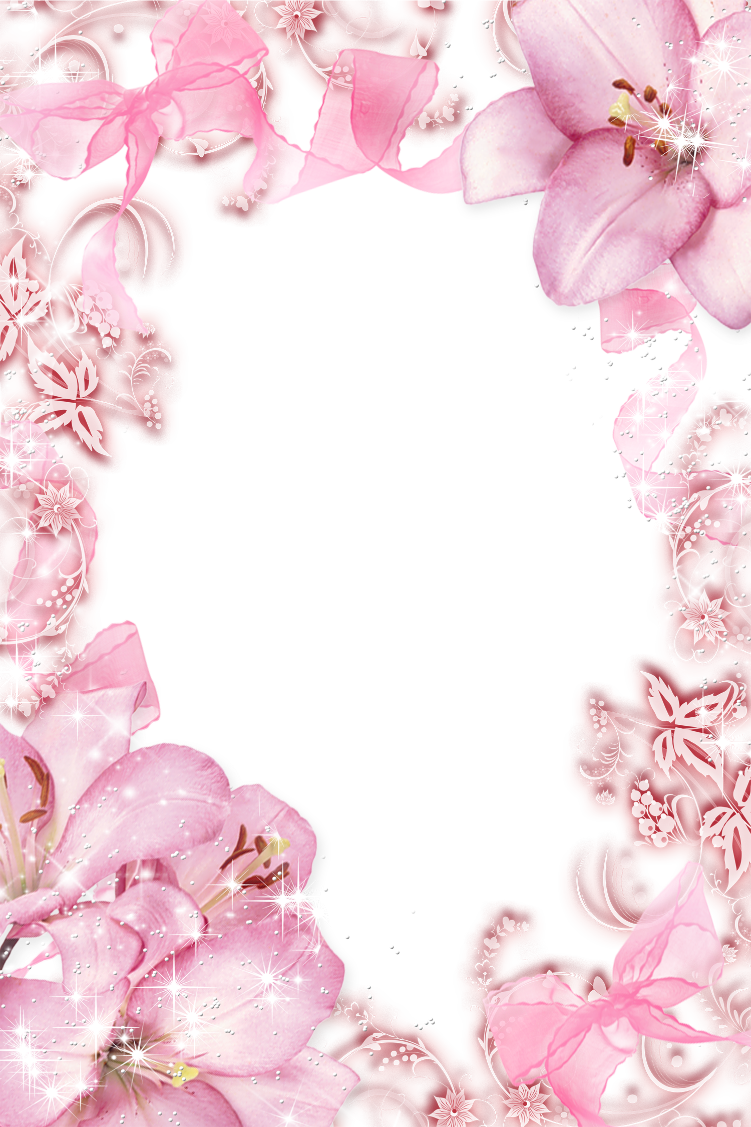 Vertical flower border clipart royalty free library Transparent Pink Flowers PNG Photo Frame | Wallpapers and more ... royalty free library