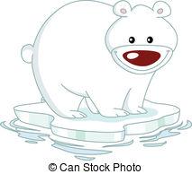 Cute polar bear on ice clipart