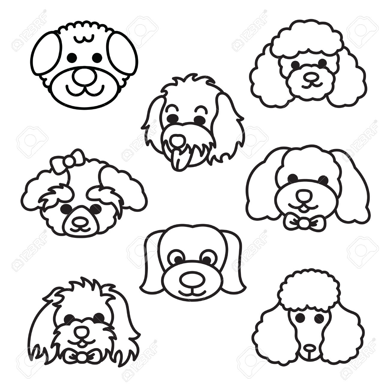 Cute poodle face clipart black and white banner transparent stock Poodle Cartoon Drawing at PaintingValley.com | Explore ... banner transparent stock