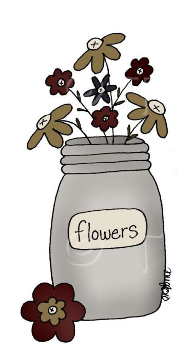 Cute primtive flower cliparts jpg free stock Mason Jar With Flowers Clipart   Free download best Mason Jar With ... jpg free stock