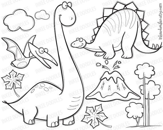 Cute pterodactyl clipart black and white clip freeuse library Dinosaur Clipart Digital Stamp Black Doodle Cute Pterodactyl ... clip freeuse library
